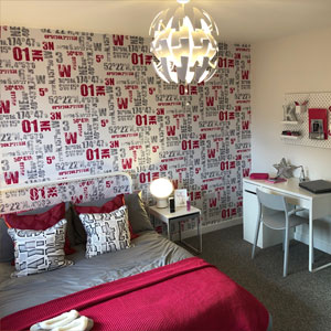 Modern decorated bedroom at showhome in Wrexham