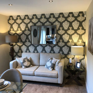 Modern living room at Gower Homes showhome