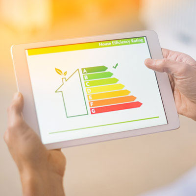House efficiency rating viewed on tablet